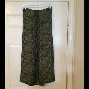 Pants - Green Tribal Print Flowy Bohemian Slit Pant